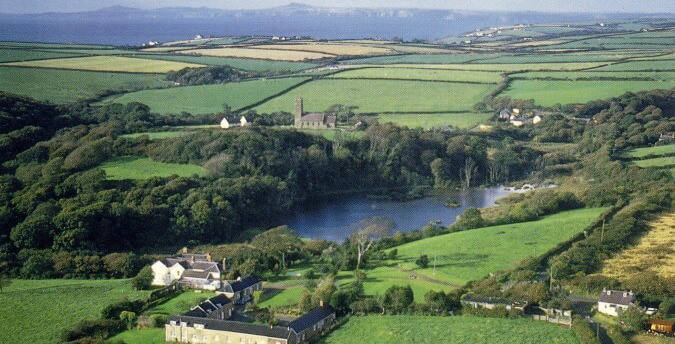 Holiday cottages. Rosemoor, Pembrokeshire, South West Wales - aerial view