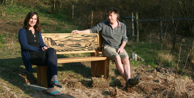Rosemoor Nature Reserve South West Wales - otter bench + artist & wife
